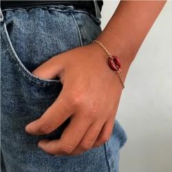 Rode schelpen armband