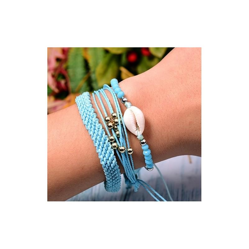 Schelpen armband blauw